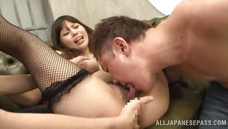 Never previous to did swingeing Rion Nishikawa with massive tits get fucked roughly like this