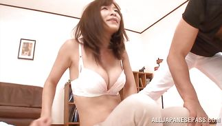 Divine girl Kaho Kasumi whimpers whilst being doggy styled hard
