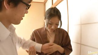 Magnificent sweetie Miku Asaoka asked a fuckmate to play with her tits and touch her wazoo