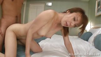 Delicious mature darling gives one mean oral-job to male