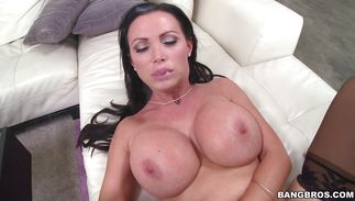 Erotic chopper sucking featuring shameless busty brown-haired bimbo Nikki Benz