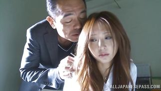 Beguiling housewife Manami Suzuki got a precious fuck session from buddy while they were alone