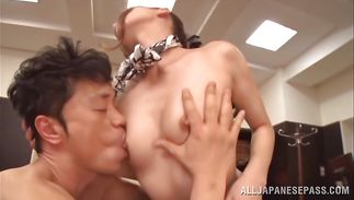 Sexy aged Rin Sakuragi seduces a bf by revealing her perfect boobs