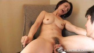 Happy gal devours stud's hard slim jim without mercy