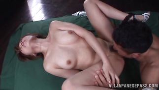 Fleshly Rika Hoshimi impales her meaty twat on a hot pecker
