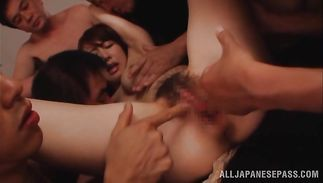 Passionate breasty mature perfection Azumi Kinoshita spreads her legs for playmate's thick pike