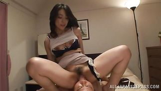 Sexually excited mature Marina Matsumoto jumps on man's large boner