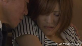 Sassy mature chick Azusa Itagaki is gently toying her tight gazoo before getting a-hole fucked