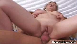 Wicked blond bimbo Ava deepthroats a ramrod and gets smashed