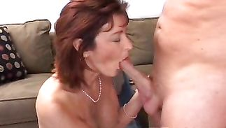 Beautiful mature redhead Alena knows how to ride a rod