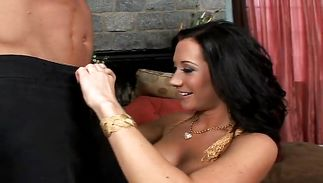 Wicked mature playgirl Jayden Jaymes eagerly sucks and rides a stiff prick